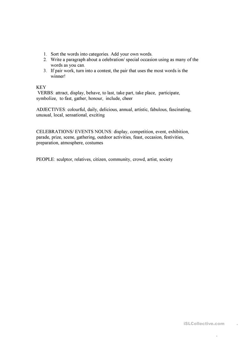 Worksheets Citizenship In The Community Answers To The Worksheet celebrations vocabulary worksheet free esl printable worksheets full screen