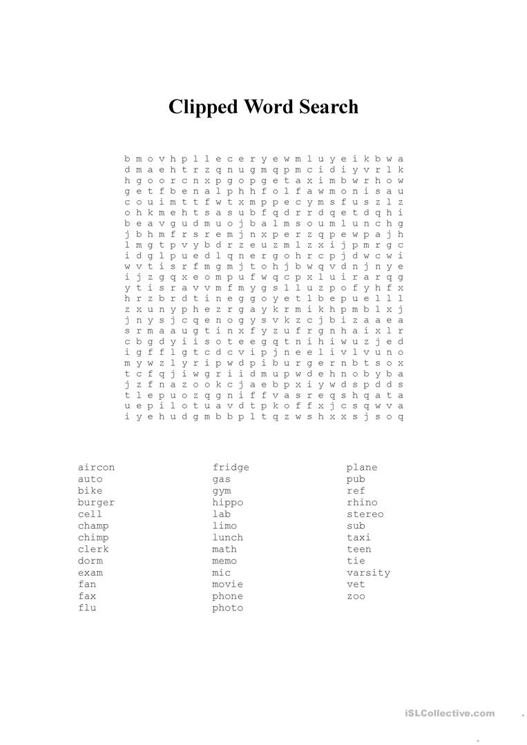 Clipped Words - English ESL Worksheets