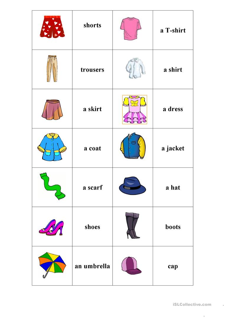 photo about Printable Clothes named Dresses. Memory match. - English ESL Worksheets