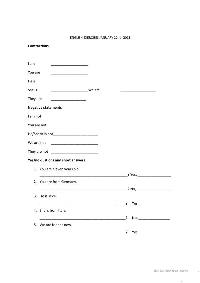 Contractions verb to be worksheet Free ESL printable worksheets