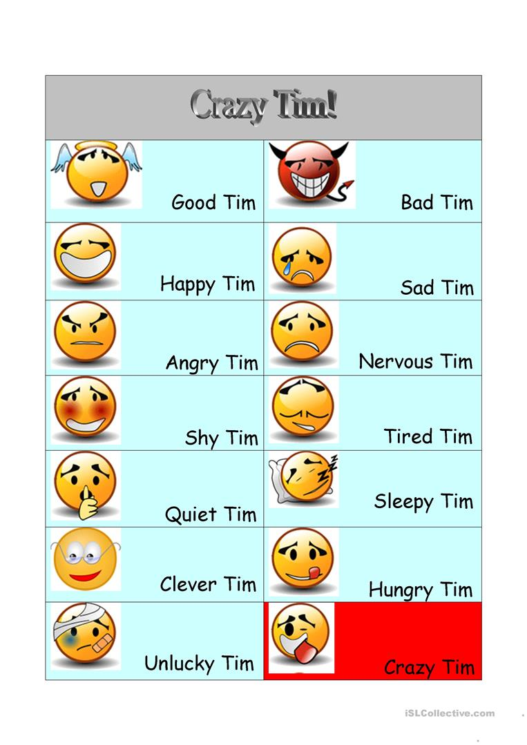 Crazy Tim Adjectives Feelings And Moods English Esl