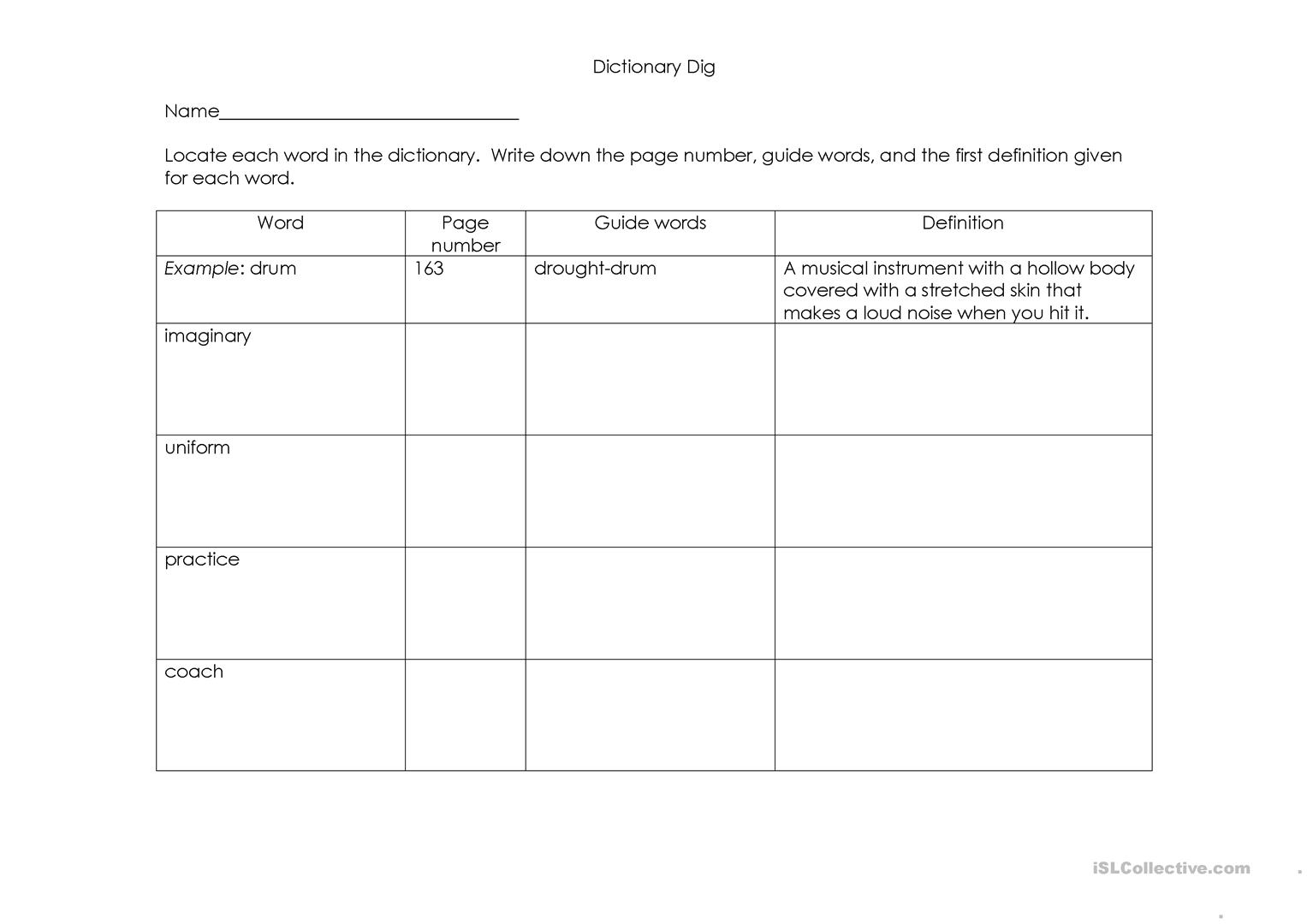 worksheet Dictionary Guide Words Worksheet dictionary dig worksheet free esl printable worksheets made by full screen