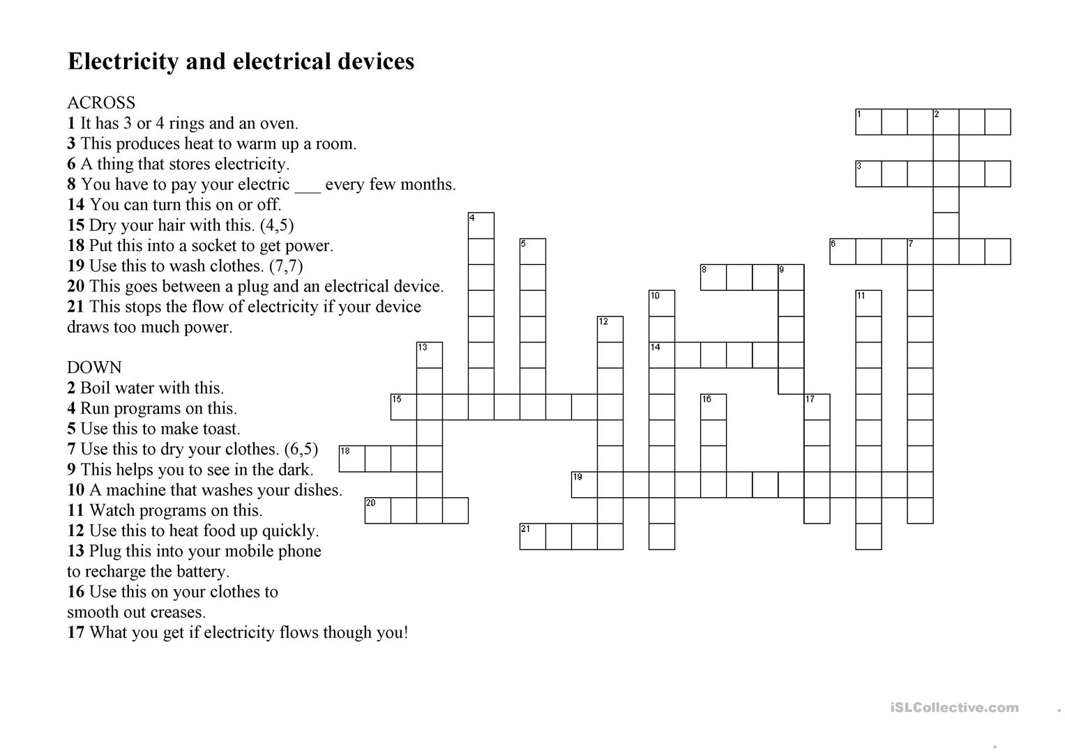 Electricity And Electrical Devices Worksheet Free Esl Printable Fun Activity Teaching Full Screen