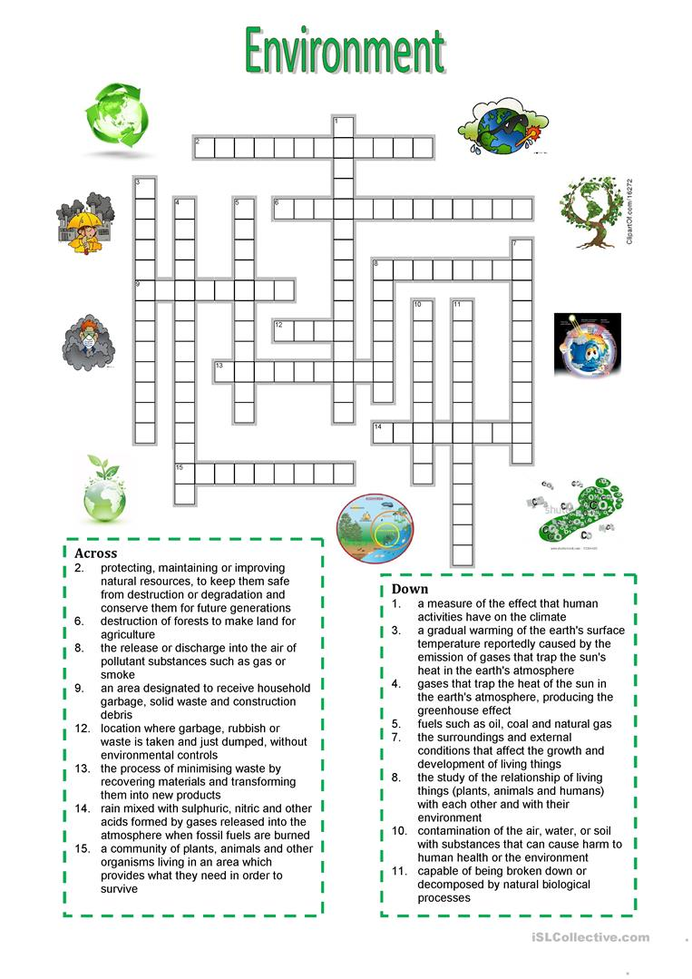 Environment Crossword Puzzle Worksheet Free Esl Printable