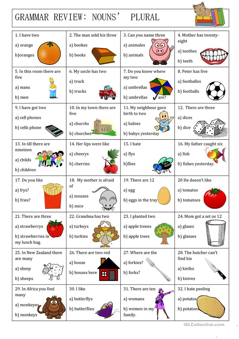 Grammar Review Nouns Plural Worksheet Free Esl Printable
