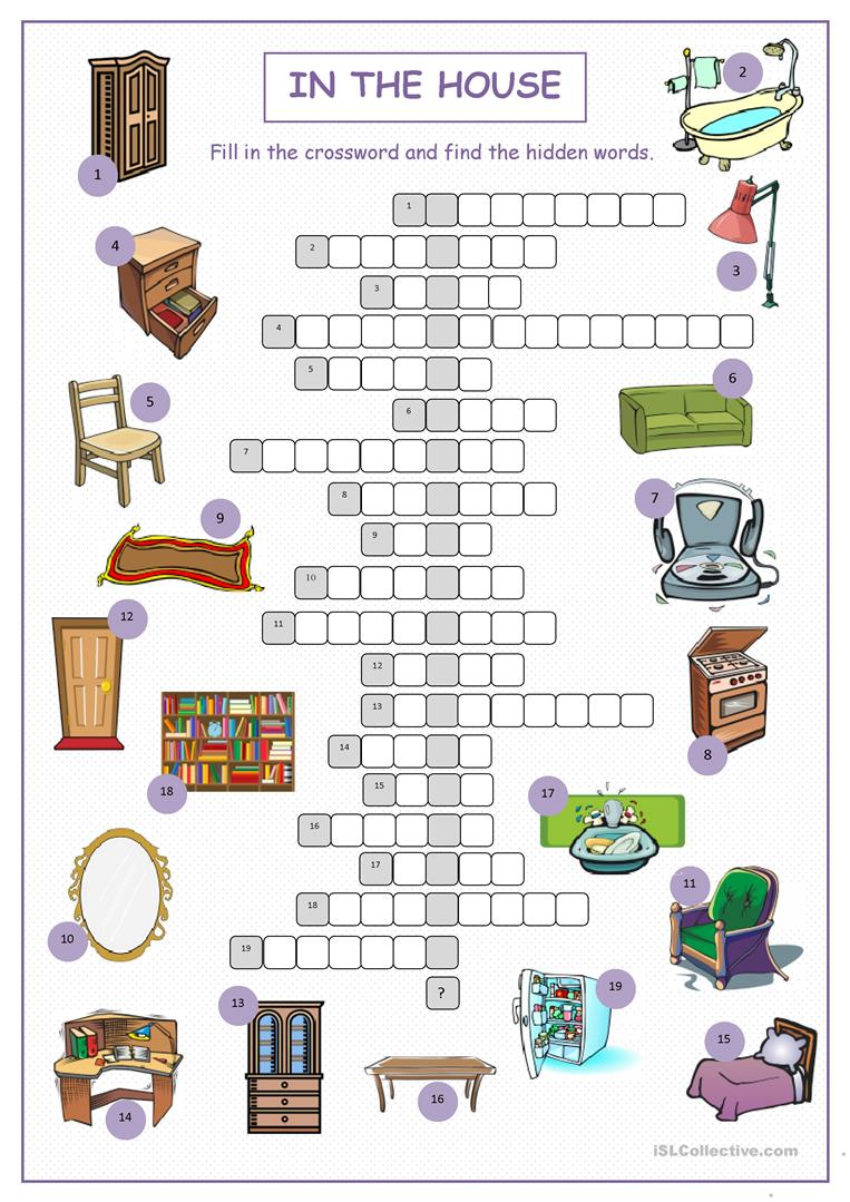 Worksheets Crossword Puzzle Worksheets 138 free esl crossword puzzle worksheets in the house puzzle