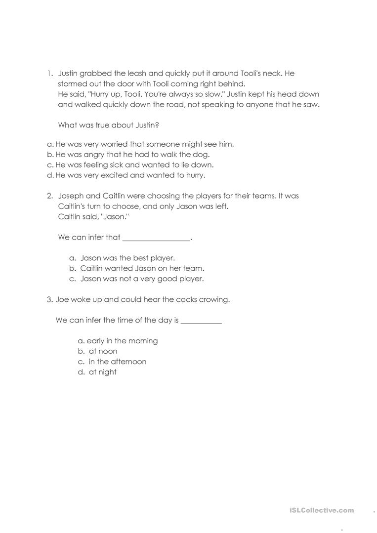 Worksheets Making Inferences Worksheet making inferences worksheet free esl printable worksheets made by full screen