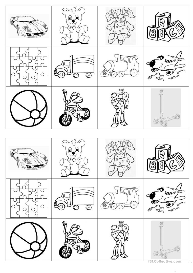 Toy Vocabulary Game : Memory game on toys worksheet free esl printable