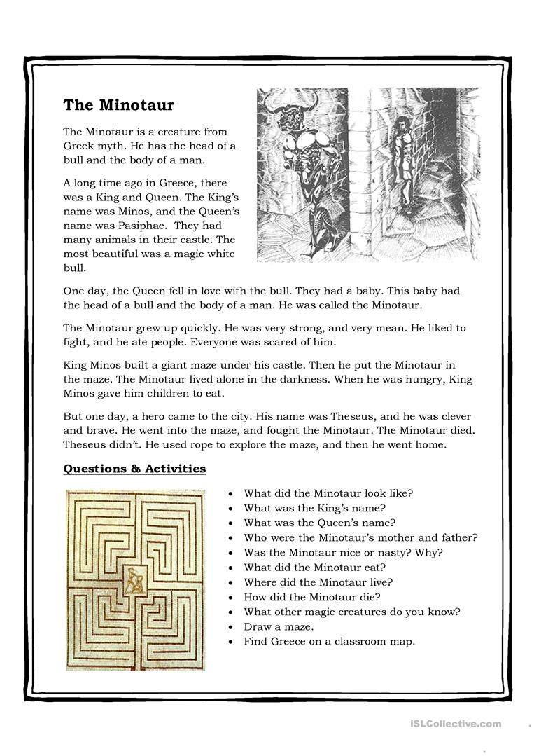 9 FREE ESL greek mythology worksheets – Mythology Worksheets