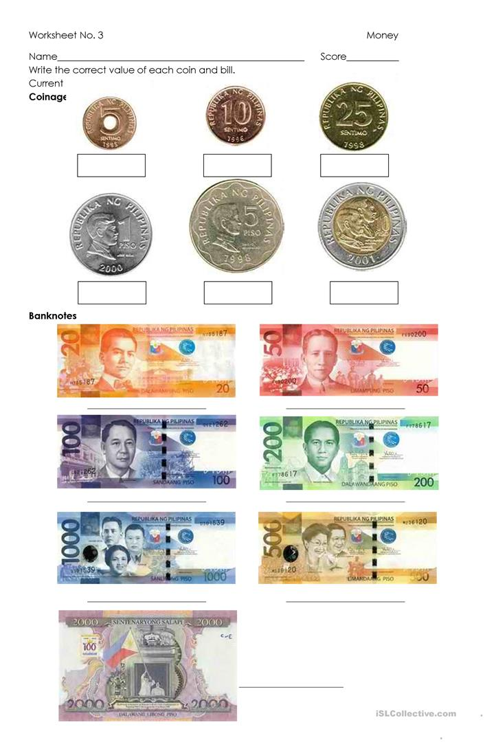 Philippine Money Worksheets : Money philippine coins and bills worksheet free esl
