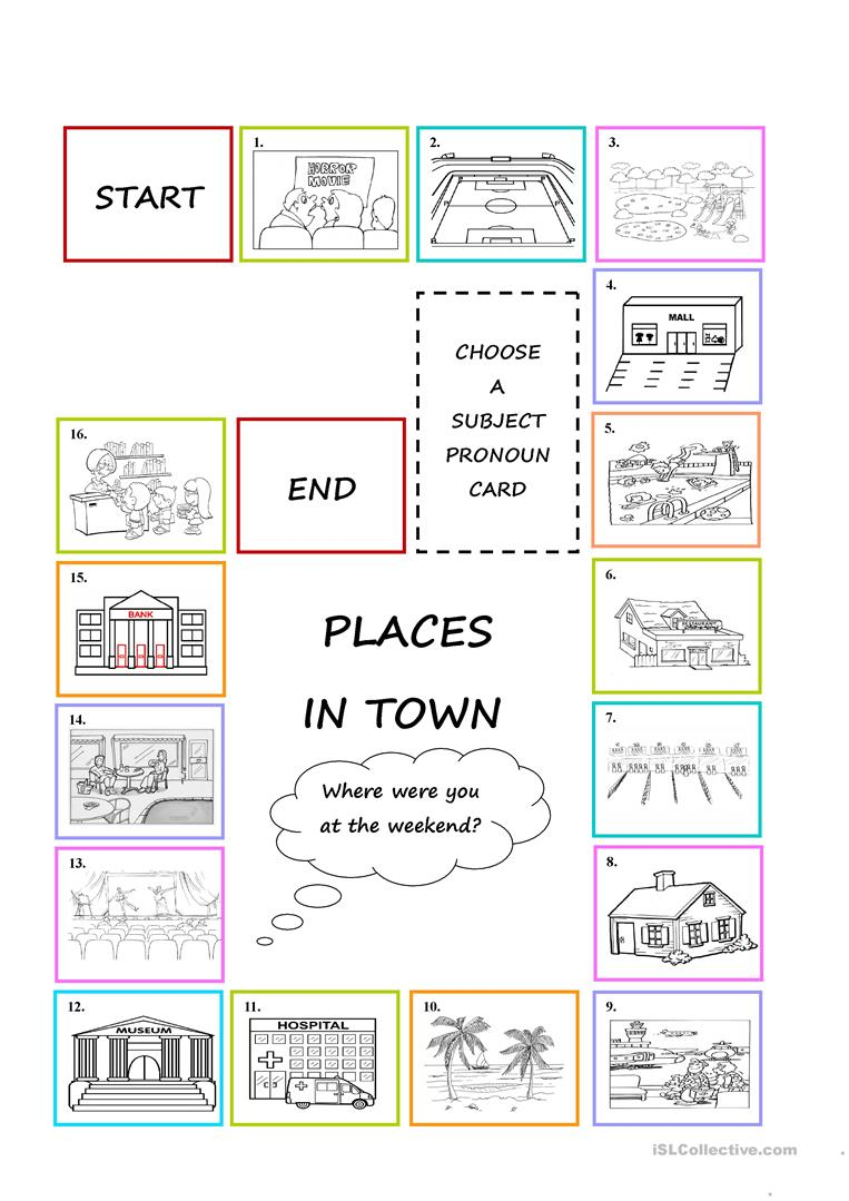 places in town board game worksheet free esl printable worksheets made by teachers. Black Bedroom Furniture Sets. Home Design Ideas