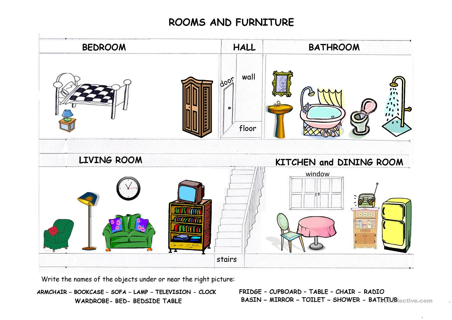 Rooms furniture and prepositions of place