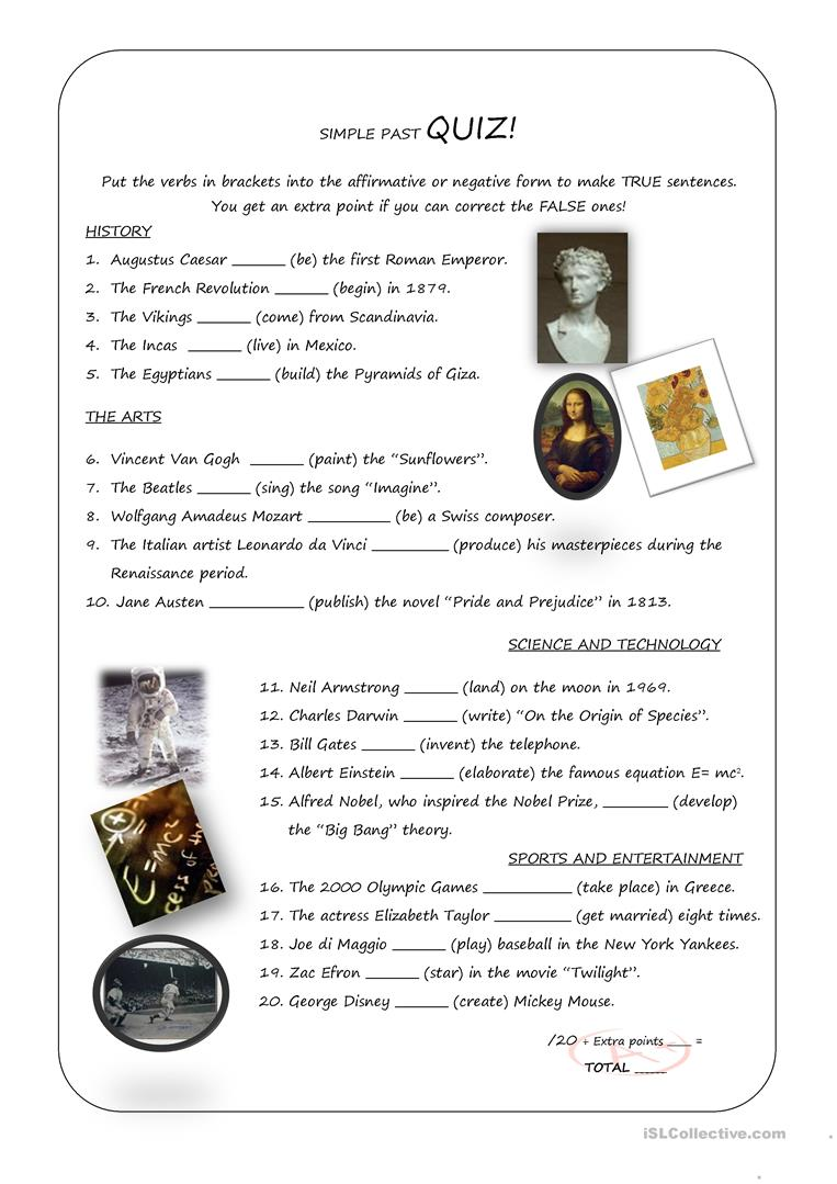 Simple Past Quiz English ESL Worksheets For Distance