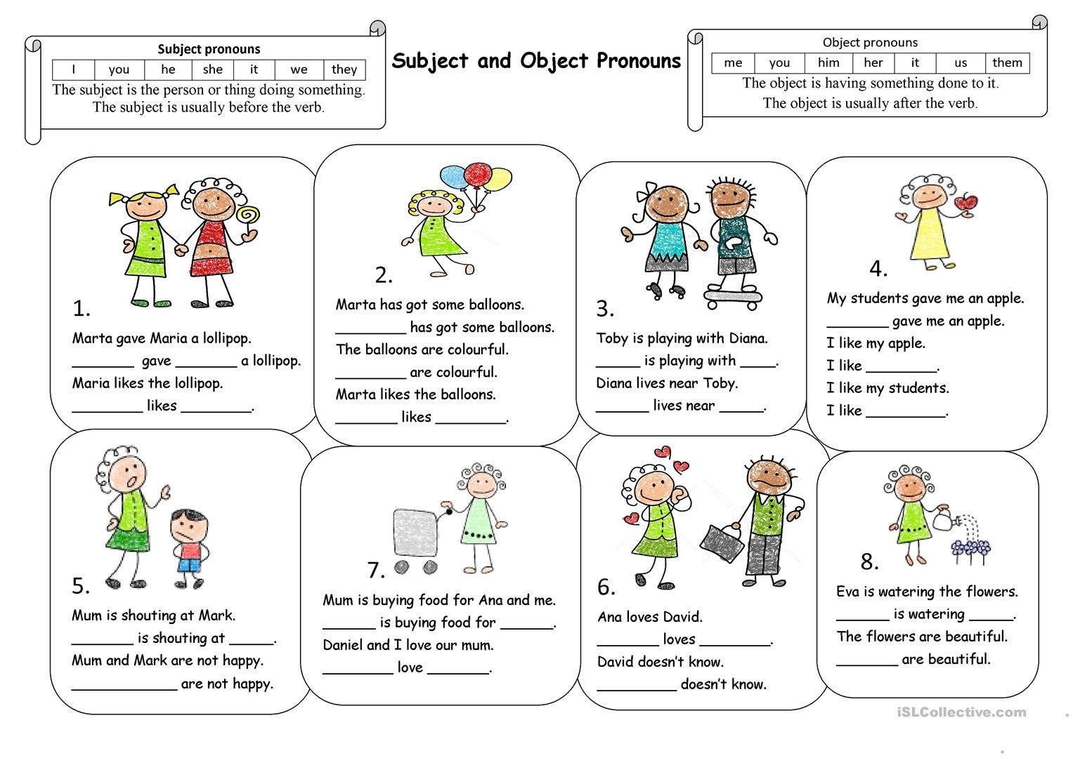 Worksheets Subject And Object Pronouns Worksheets subject and object pronouns worksheet free esl printable full screen