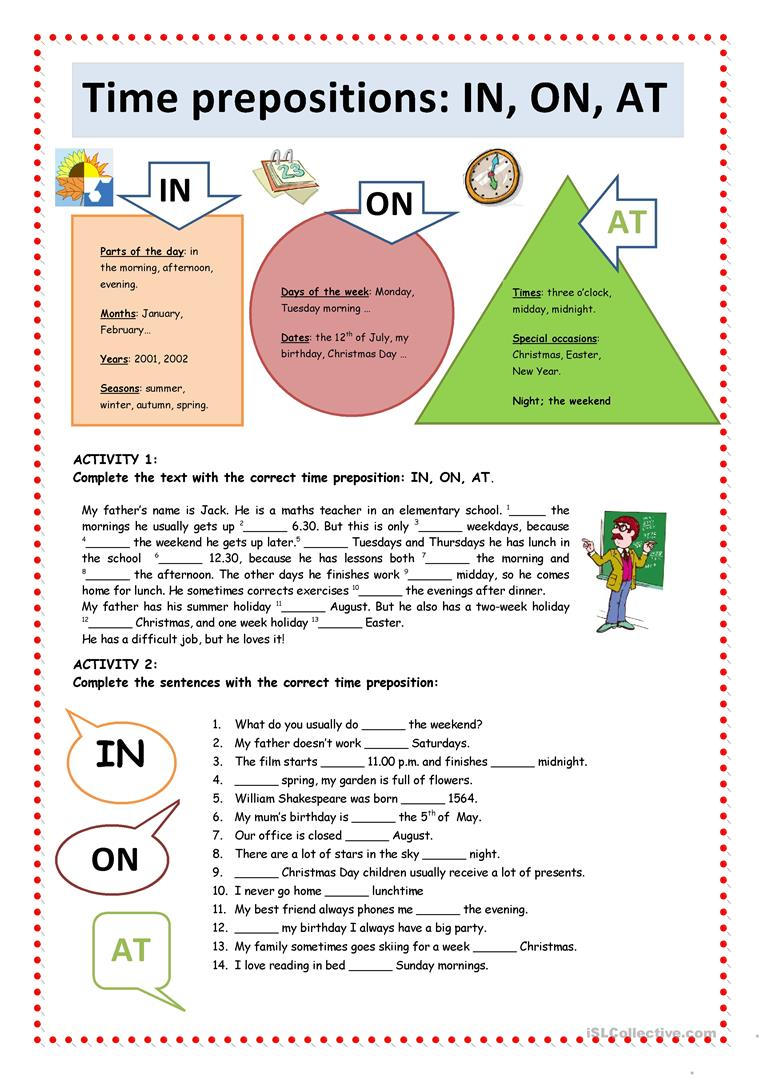 Time Prepositions In On At English Esl Worksheets For Distance Learning And Physical Classrooms