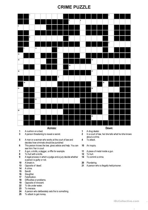 A Crossword Puzzle On Crime