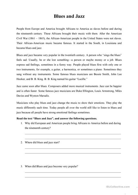Blues And Jazz Reading Comprehension Worksheet Free Esl