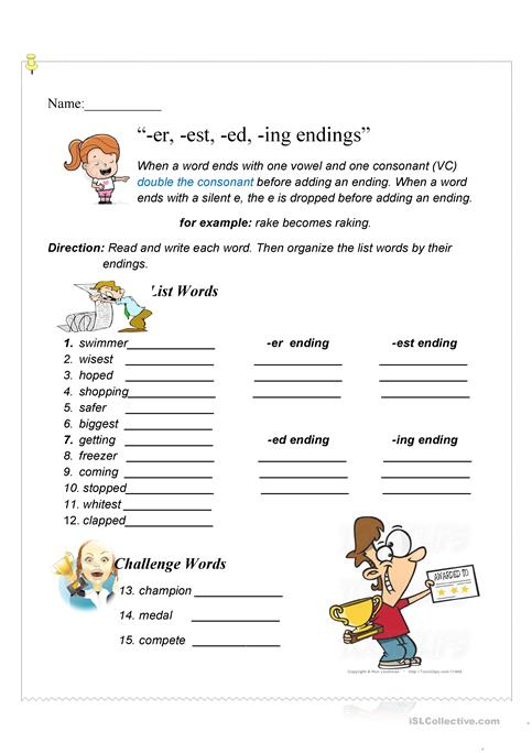 er, -est, -ed, -ing endings worksheet - Free ESL printable ...