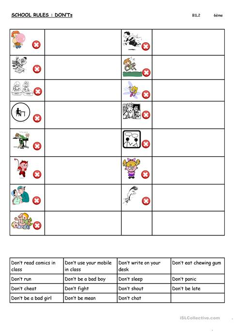 I know and follow the rules Worksheet - Twisty Noodle
