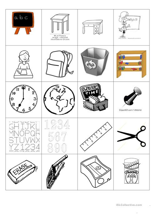 image regarding Printable Vocabulary Game referred to as faculty vocabulary match worksheet - Free of charge ESL printable