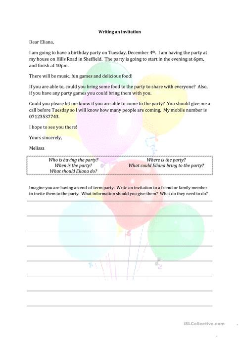 Writing an invitation worksheet free esl printable worksheets made writing an invitation worksheet free esl printable worksheets made by teachers stopboris Image collections