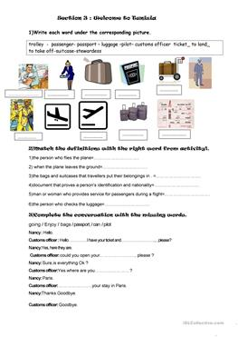 35 FREE ESL at the airport worksheets