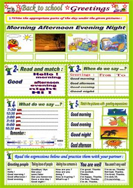 237 free esl greetings worksheets greetings parts of the day m4hsunfo