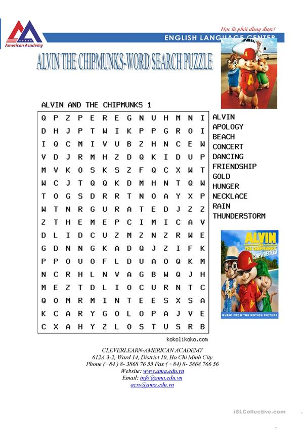 alvin and the chipmunks 1-wordsearch