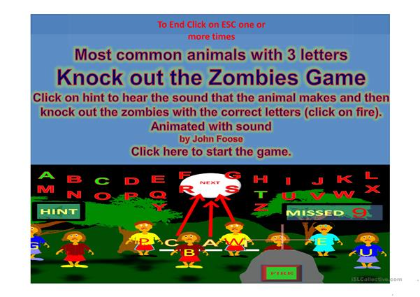 Animal Three letter words Shoot the Zombies Game