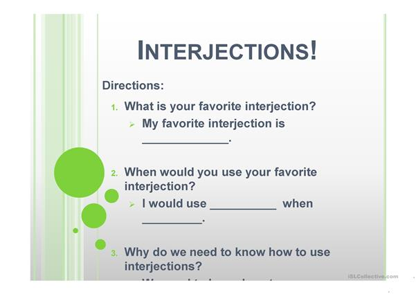 Interjections Game