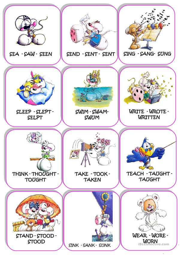 Irregular verbs cards Diddl 1/2