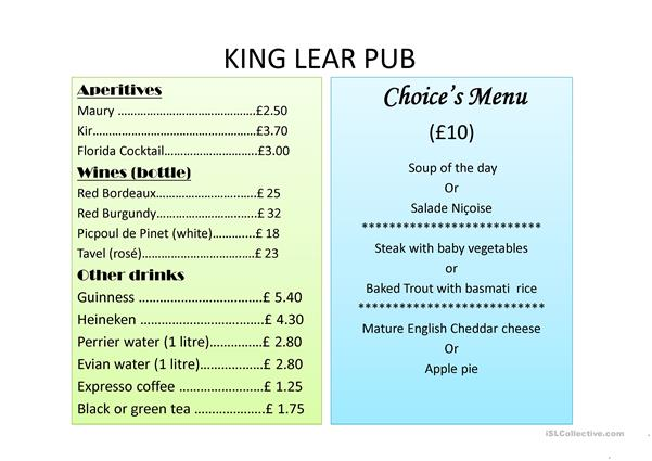 King Lear Pub's choice menu