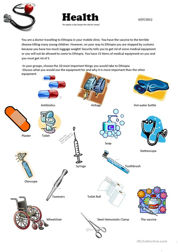 Medical equipment vocabulary activity