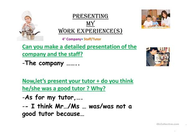 PRESENTING MY WORK EXPERIENCE