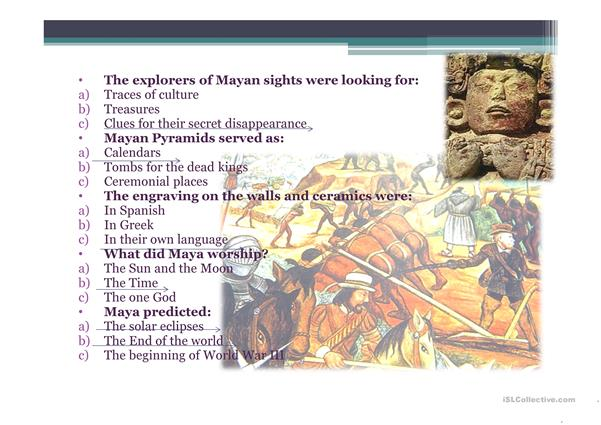 Quiz for the video about Mayan Civilization