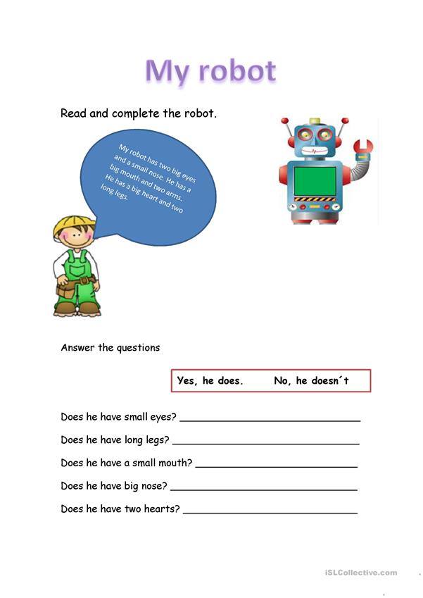 Read and complete the Robot