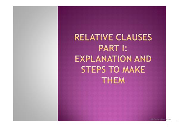 RELATIVE CLAUSES part 1