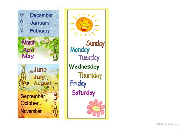 Seasons, months, days of the week - bookmarks
