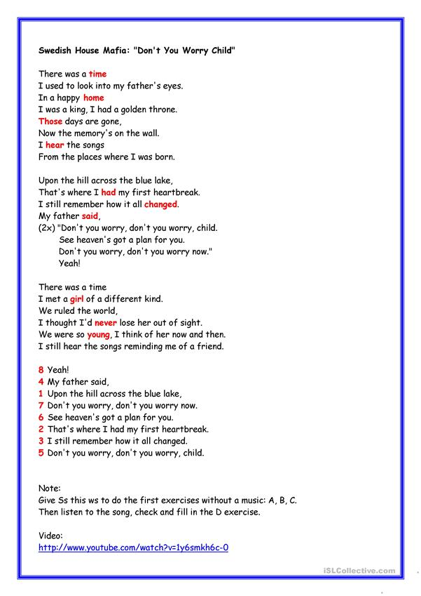 Swedish House Mafia: Don't you worry child worksheet