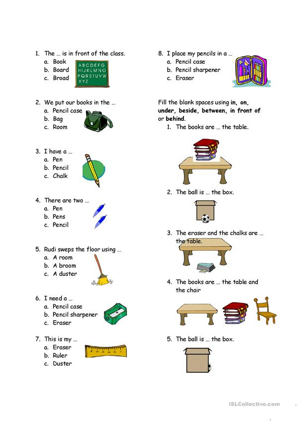 test on classroom and preposition