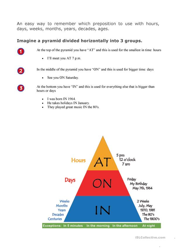 Time prepositions pyramid