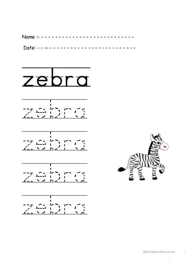 trace the word zebra