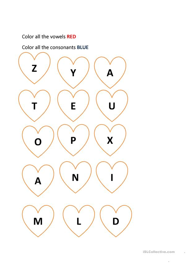 Valentine color: vowels and consonants