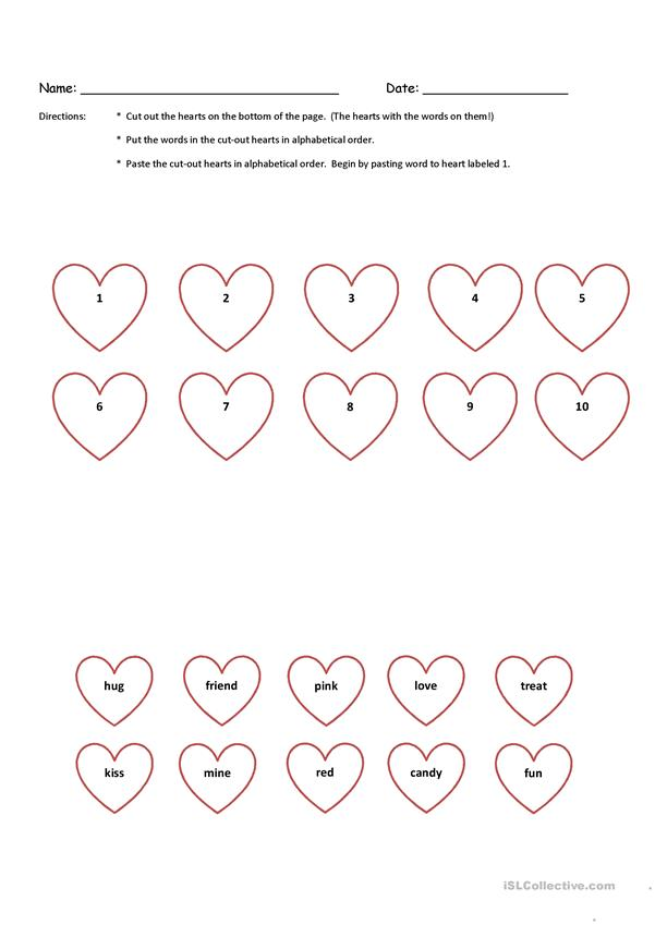 Valentine Cut-N-Paste Alphabetical Order K & 1st Grade with Key