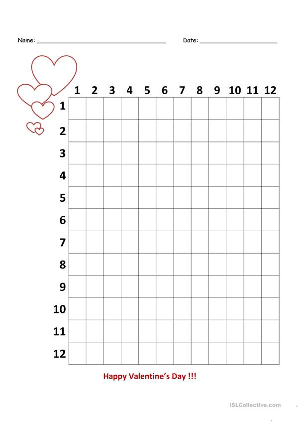 Valentine's Day Multiplication Chart - 3rd Grade