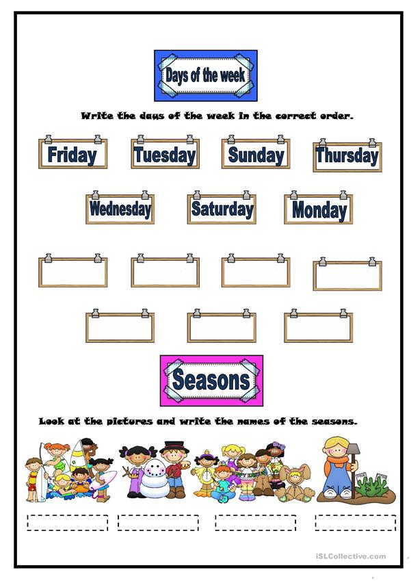 WEATHER,MONTHS, DAYS OF THE WEEK & SEASONS