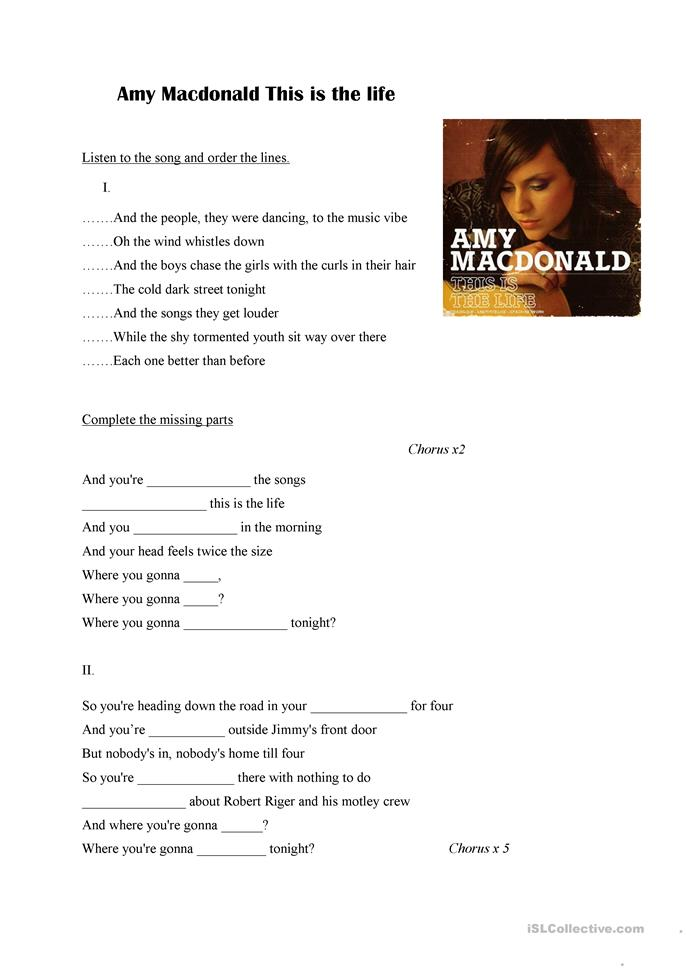 Amy Macdonald This is the life - ESL worksheets
