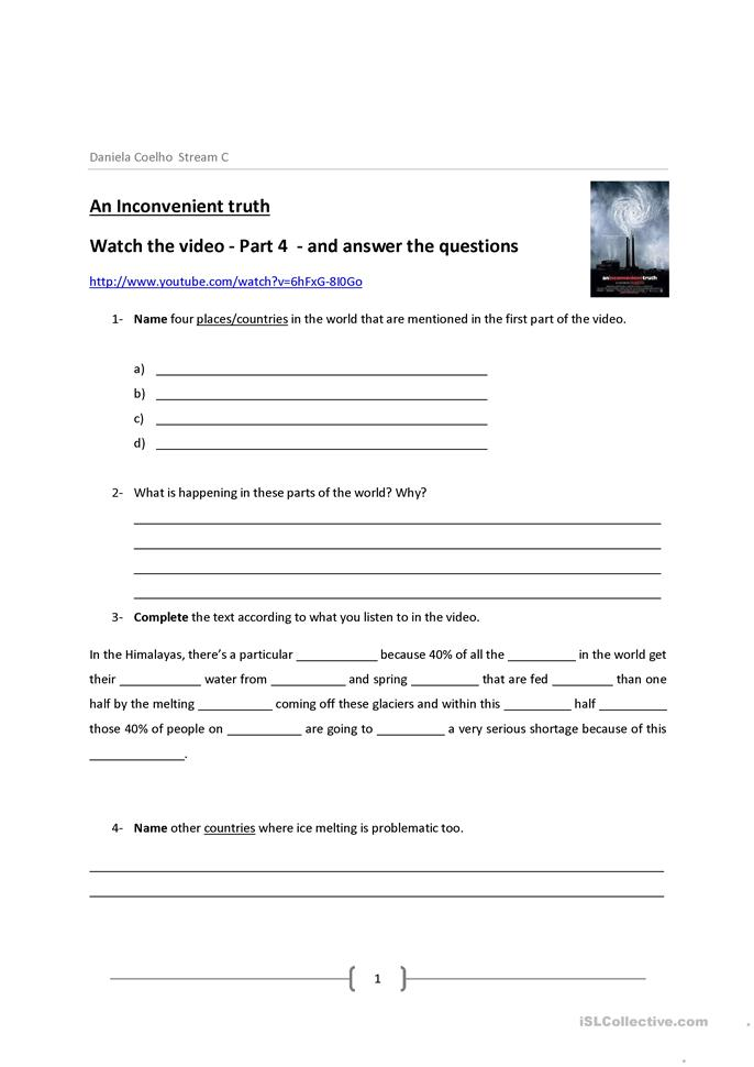 An Inconvenient Truth Video worksheet - Free ESL printable ...