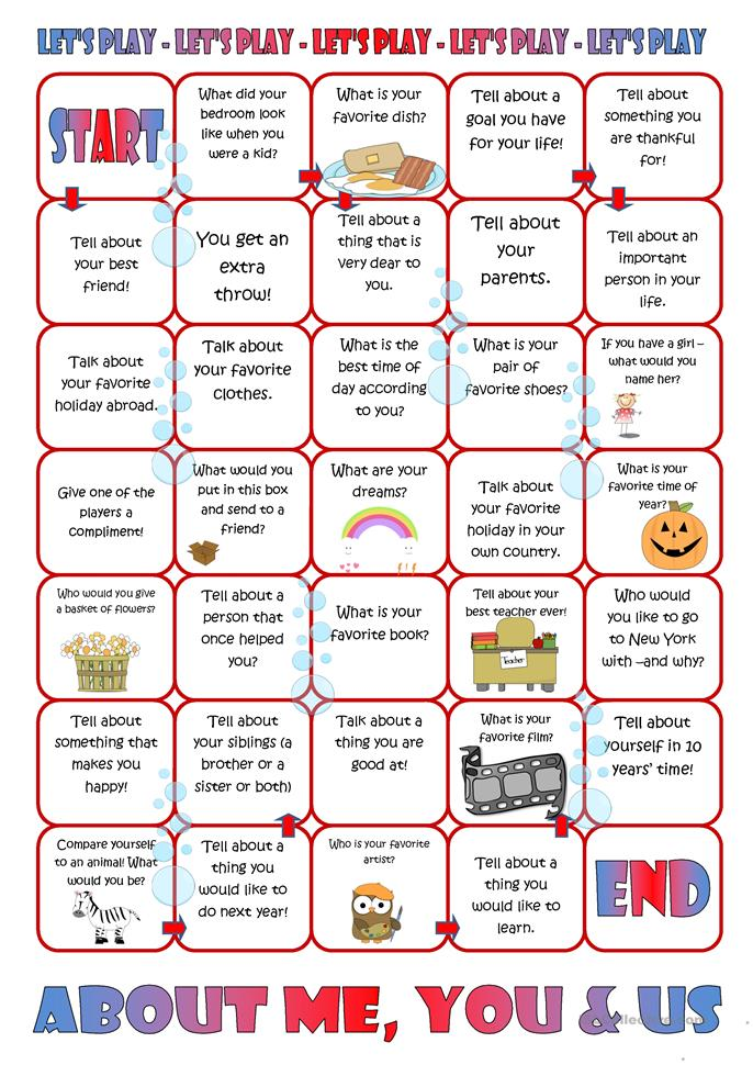 Board game about me you amp us worksheet free esl printable
