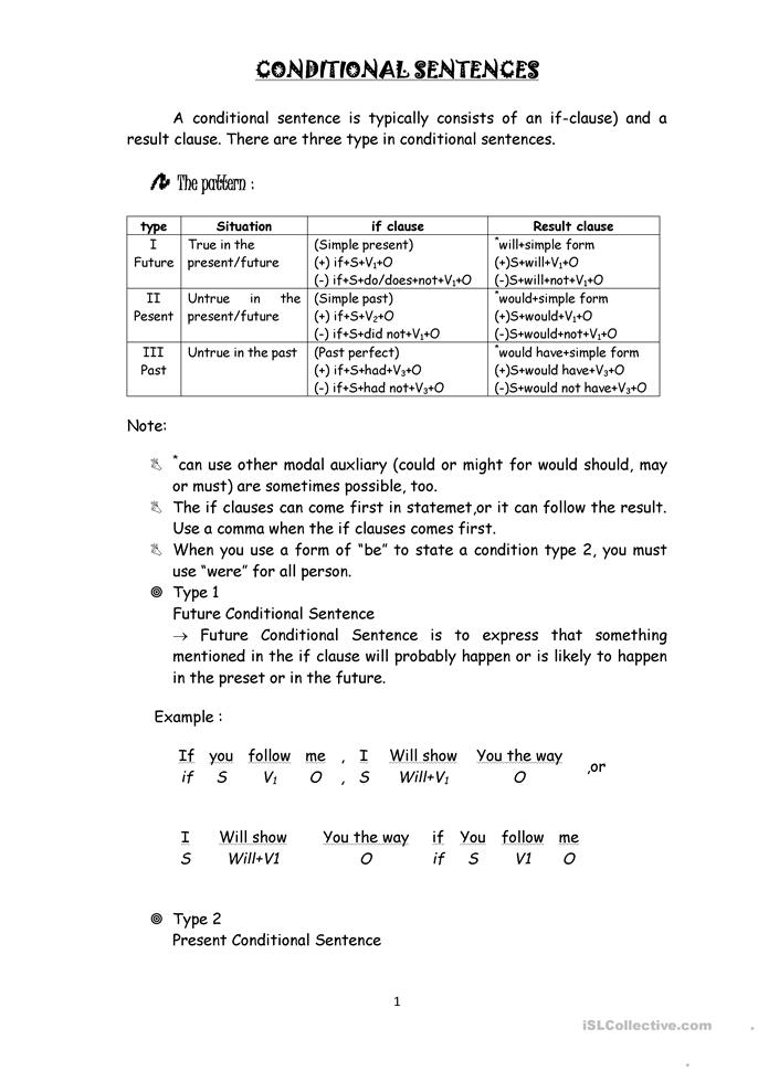 conditional if - ESL worksheets